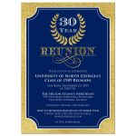 navy blue, gold, and white 30 year class reunion invitation with laurel branch wreath and ornate scroll.
