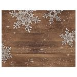 Rustic snowflake and wood winter wedding RSVP card back