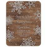 Rustic winter snowflake and wood wedding save the date announcement front