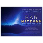 Stars in Space Night Sky Bar Mitzvah Invitation