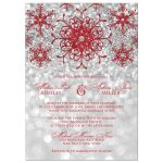 Sparkly red and silver grey glitter snowflakes and bokeh lighting winter wedding invitation.