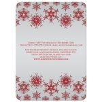 Sparkly red and silver grey glitter snowflakes and bokeh lighting winter wedding invite.