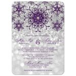 ​Sparkly purple and silver grey glitter snowflakes and bokeh lighting winter wedding invitation.