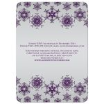 ​Sparkly purple and silver grey glitter snowflakes and bokeh lighting winter wedding invite.