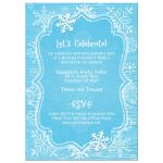 Ice blue and white whimsical hand drawn snowflakes on blue wood grain winter Bat Mitzvah invites with Star of David and Hebrew name.