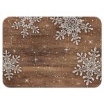 ​Rustic winter snowflake and wood wedding reception card back