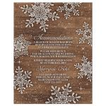 Rustic winter snowflake and wood wedding accommodations or details card front