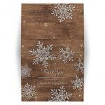 Rustic winter snowflake and wood personalized wedding thank you card (folded tent style card)