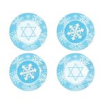 Blue and white snowflakes and wood winter Bat Mitzvah stickers or envelope seals with Star of David.