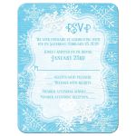 Ice blue and white whimsical hand drawn snowflakes on blue wood grain winter Bat Mitzvah RSVP reply response enclosure card insert.