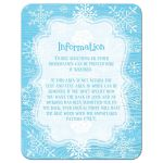 ​Ice blue and white whimsical hand drawn snowflakes on blue wood grain winter Bat Mitzvah RSVP reply response enclosure card insert.