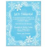 ​Ice blue and white whimsical hand drawn snowflakes on blue wood grain winter Bat Mitzvah reception party invite.