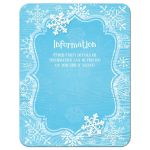 Ice blue and white whimsical hand drawn snowflakes on blue wood grain winter Bat Mitzvah reception party invite.