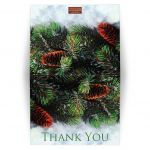Winter forest wedding thank you card with snow and evergreen branches or boughs and an optional photo template.