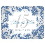 Royal blue, silver, gray, grey, and white winter Quinceañera save the date card with snowflakes and glitter.