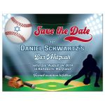 Red and blue Baseball or Softball theme Bar Mitzvah or Bat Mitzvah save the date postcard with baseball diamond and stadium, baseball bat, glove, and baseball with Star of David.