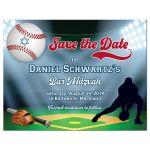 Red and blue Baseball or Softball theme Bar Mitzvah or Bat Mitzvah save the date postcard with baseball diamond and stadium, baseball bat, glove, and baseball with Star of David.