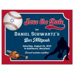 Red and blue Baseball or Softball theme Bar Mitzvah or Bat Mitzvah ticket shaped save the date postcard with baseball players, baseball bat, glove, and baseball with Star of David.