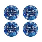 Snowflake Blue Winter Bokeh Thank You Round Stickers