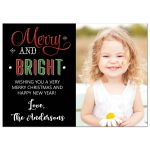 Merry and Bright Modern Holiday Christmas Photo Card