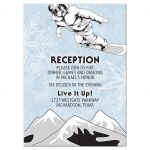 snowboarder snowboarding bar mitzvah reception card front