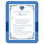 ​Royal blue and white floral wedding response enclosure card insert with silver heart brooch, ribbon, flowers, and ornate scrolls.