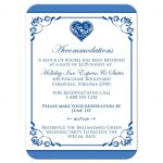 ​Royal blue and white floral wedding accommodations or reception enclosure card insert with silver heart brooch, ribbon, flowers, and ornate scrolls.