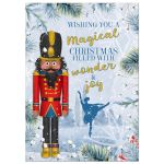 Unique African American Nutcracker ballet family photo Christmas greeting card front