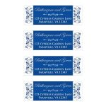 Royal blue and white floral wedding return address mailing labels with ornate scroll.
