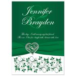 Emerald or Kelly Green and white floral wedding invitation with silver heart brooch, ribbon, flowers, and ornate scrolls.