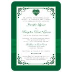 Emerald or Kelly Green and white floral wedding invite with silver heart brooch, ribbon, flowers, and ornate scrolls.