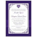 Purple ​and white floral wedding invite with silver heart brooch, ribbon, flowers, and ornate scrolls.