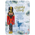 Unique African American Nutcracker ballet Christmas party invitation with dancing ballerina and winter snow scene front