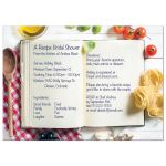Unique kitchen or cooking recipe style bridal shower invitation with recipe book, ingredients and kitchen utensils