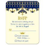 ​Royal blue, gold, ivory medieval renaissance fairy tale wedding RSVP card front