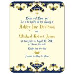 ​Royal blue, gold, ivory medieval renaissance fairy tale wedding save the date announcement front