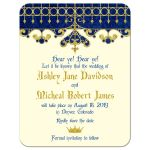 Medieval renaissance fairy tale royal blue gold ivory wedding save the date announcement front