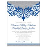 ​Royal blue silver gray and white lace wedding invitation front