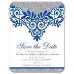 Royal blue silver gray and white lace wedding save the date card front