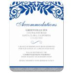 ​Royal blue silver gray and white lace wedding details accommodations card front