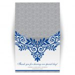 Royal blue silver gray and white lace personalized wedding folded thank you card