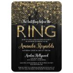 Black and gold Last fling before the RING bachelorette party invitation with wood, 3D letters, jewels, and twinkle lights.