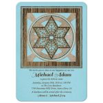 ​Jewish Hebrew name giving invitation for a boy in blue and brown with rustic woodgrain Star of David front