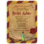 wizarding world wizard witch school of magic Bat Mitzvah invitation front