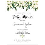 White Rose Alabaster Floral Baby Shower Invitation
