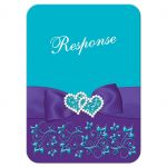 Best turquoise or teal blue and purple floral wedding response reply RSVP enclosure card insert with purple ribbon, bow, jeweled joined hearts, ornate scrolls and flourishes.