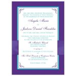 Turquoise or teal blue and purple floral wedding invite with purple ribbon, bow, jeweled joined hearts, ornate scrolls and flourishes.