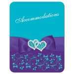 ​Best turquoise or teal blue and purple floral wedding accommodations enclosure card insert with purple ribbon, bow, jeweled joined hearts, ornate scrolls and flourishes.