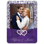 Best purple and silver floral wedding invitation with joined jewel hearts, ribbon, bow and photo template.