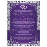 Best purple and silver floral wedding invite with joined jewel hearts, ribbon, bow and photo template.